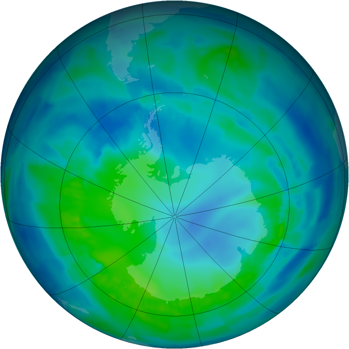 Antarctic ozone map for 26 April 2012